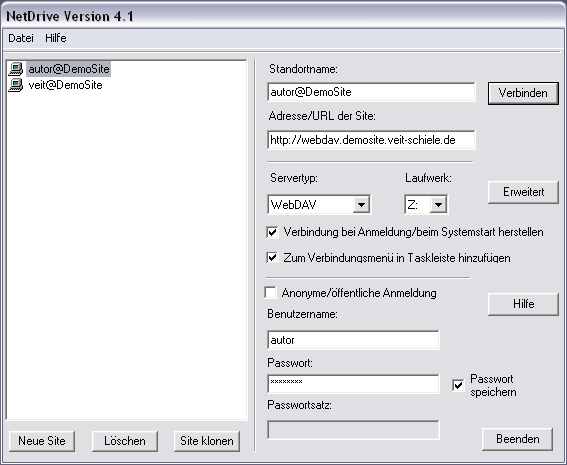 Screenshot Fenster NetDrive-Konfiguration
