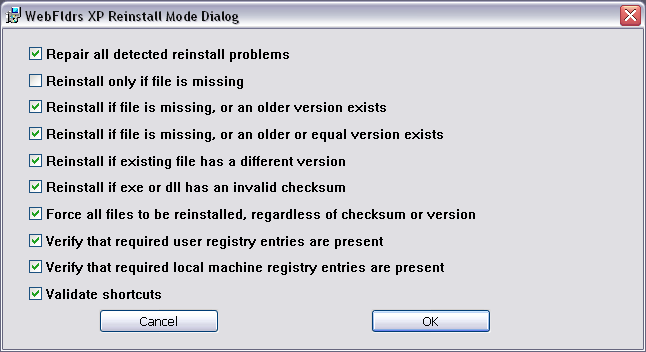 Screenshot Fenster WebFldrs XP Reinstall Mode Dialog
